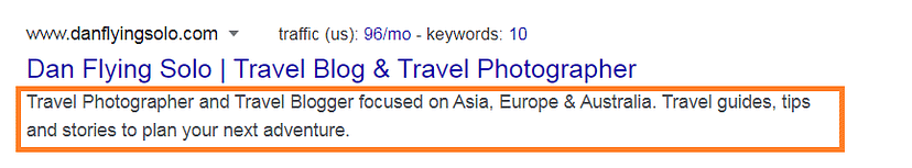 travel blog description example