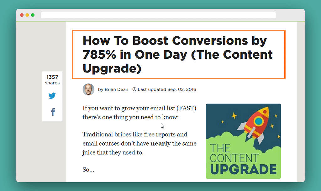 use content upgrade to build mail list