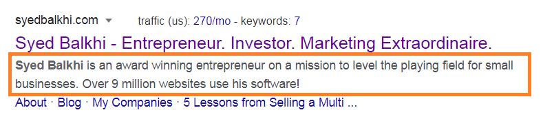 personal blog description example