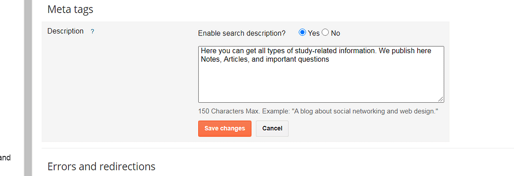 enable meta description for blogspot seo