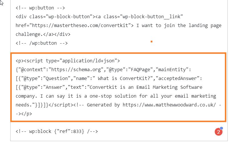 adding schema codes in text editor
