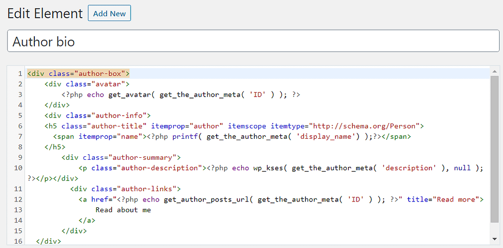 Add php codes in author bio box