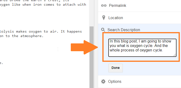 adding search description in blogger blog post