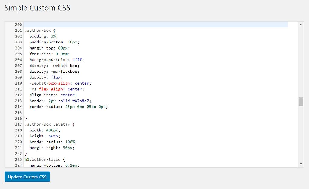 Adding extra css to author bio box